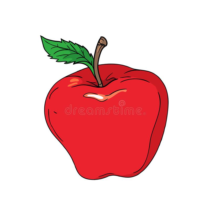 Red cartoon apple with green leaf isolated on white background - vector illustration stock illustration