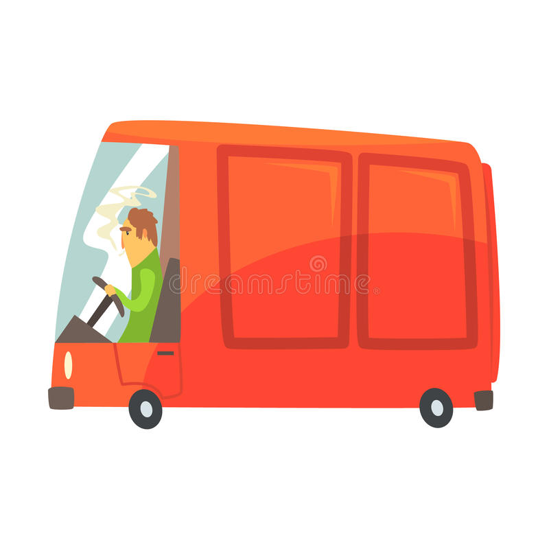 Red cartoon cargo van, commercial transport vector Illustration royalty free illustration