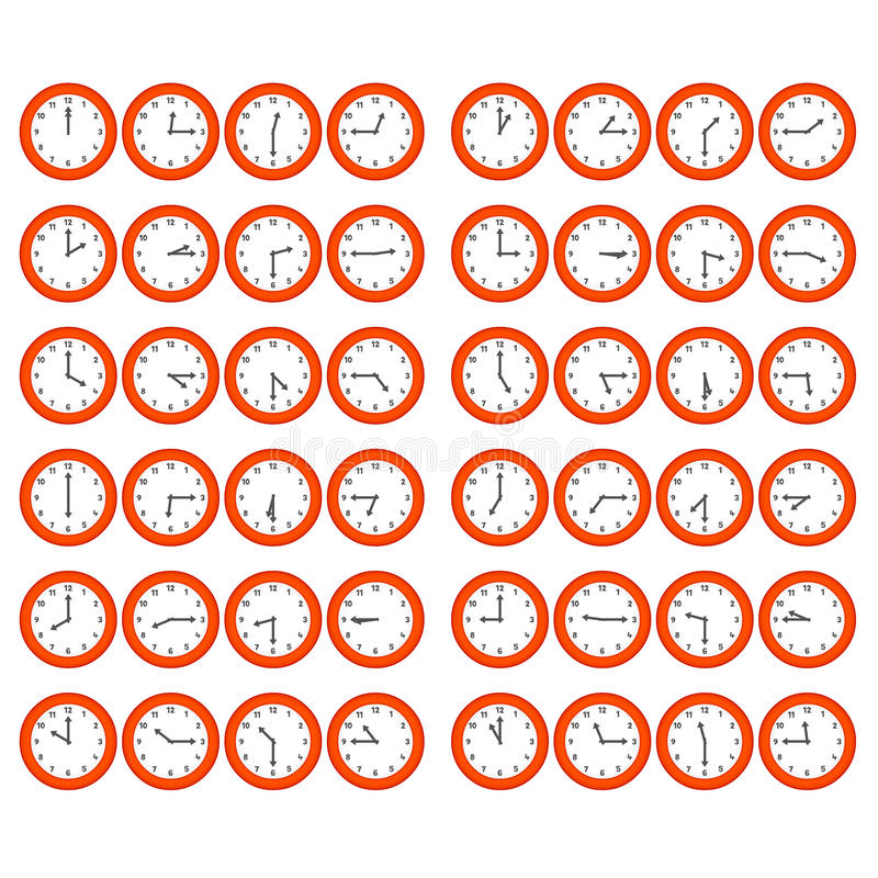 Download Red Cartoon Clocks Showing Every 15 Minutes Past T Stock Vector - Illustration: 17327486