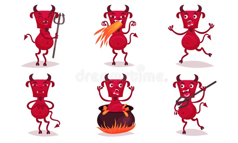 Red cartoon angry horned devil. Vector illustration. vector illustration