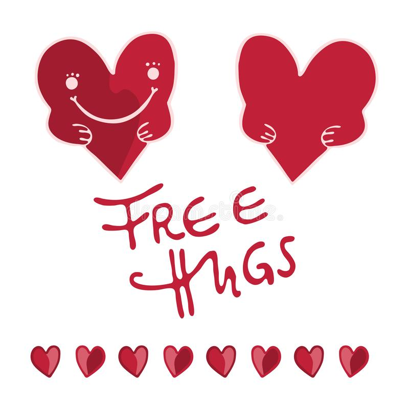 Red cartoon heart with hands and free hugs lettering Hand drawn vector illustration vector illustration