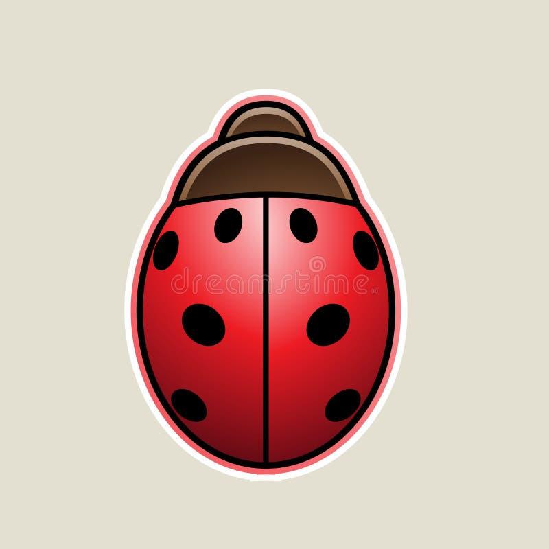Red Cartoon Ladybug Icon Vector Illustration. Vector Illustration of Red Cartoon Ladybug Icon isolated on a White Background stock illustration
