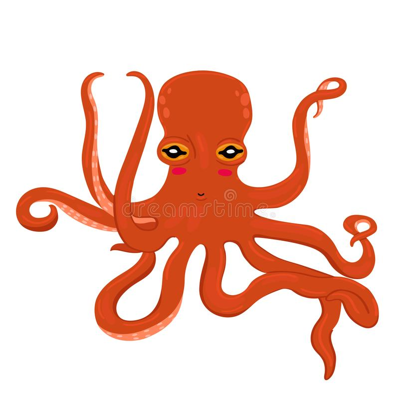 Red cartoon octopus isolated on a white background. Red cartoon octopus isolated on a white image stock illustration