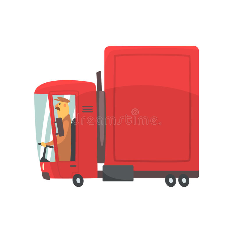 Red cartoon semi truck, cargo transport vector Illustration. Isolated on a white background stock illustration