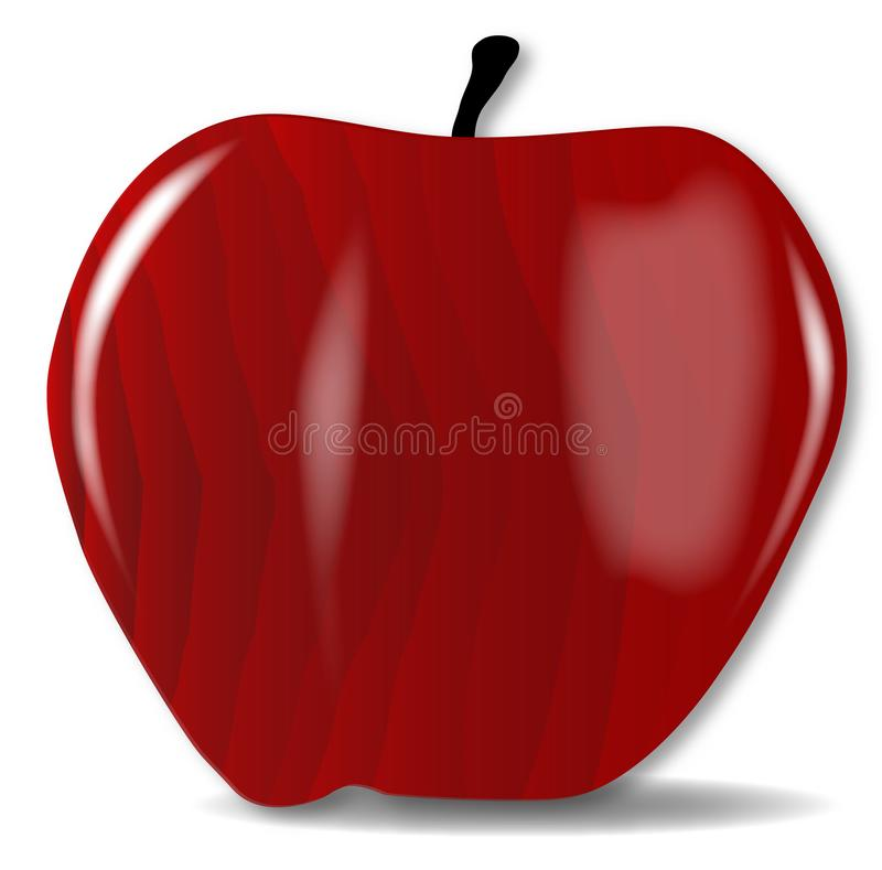 Wooden Carved And Polished Red Apple stock illustration