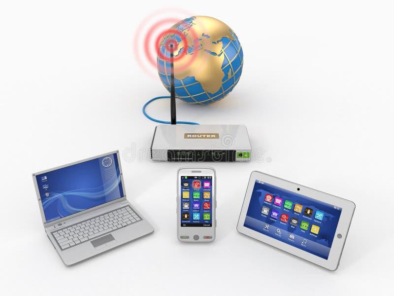 Red casera del wifi. Internet vía el ranurador stock de ilustración