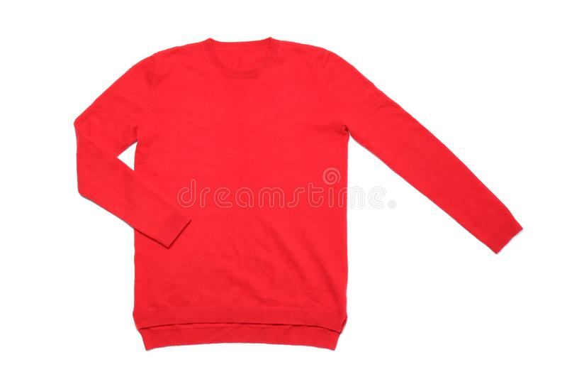 Red cashmere sweater on white, top view stock photo