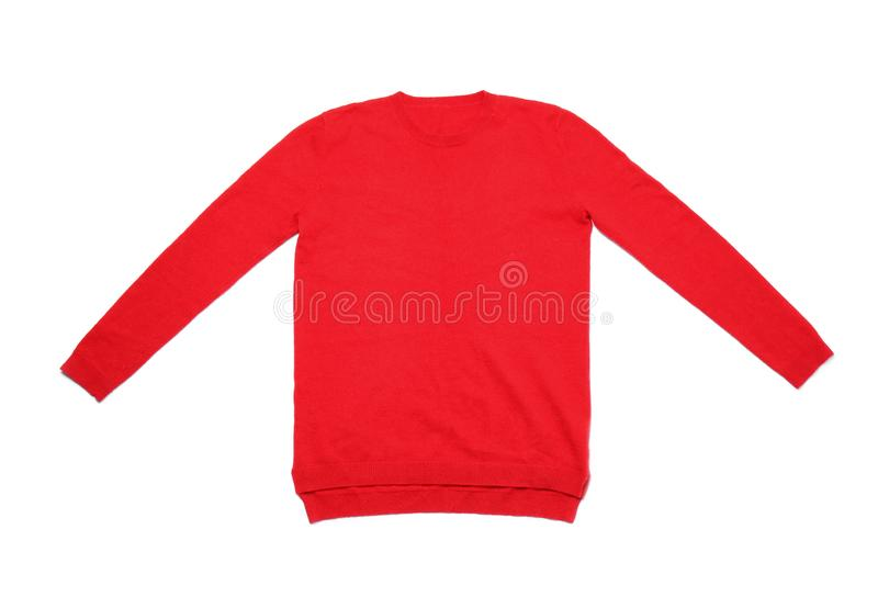 Red cashmere sweater on white stock photography