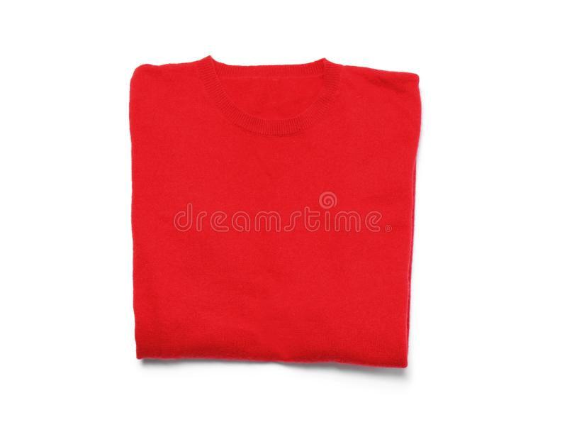 Red cashmere sweater isolated on white royalty free stock images