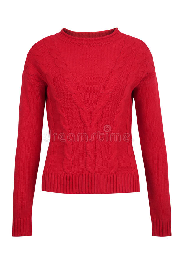 Red cashmere or wool cable sweater. Isolated on white background stock photos