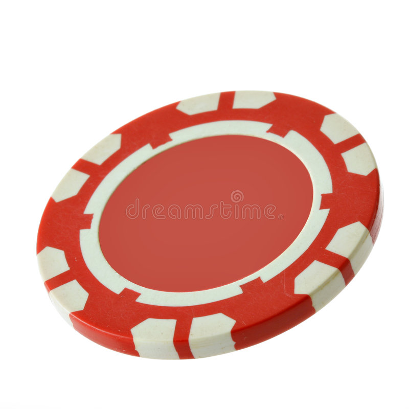 Red casino chip. With blank space in centre for your text stock image