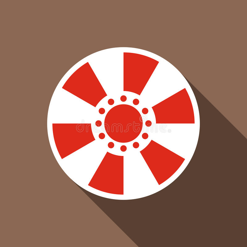 Red casino chip icon, flat style. Red casino chip icon. Flat illustration of red casino chip vector icon for web royalty free illustration
