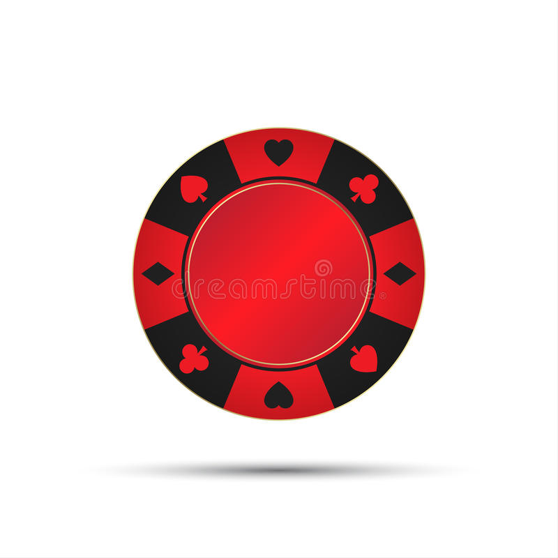 Red casino chip isolated on white background. Vector illustration vector illustration