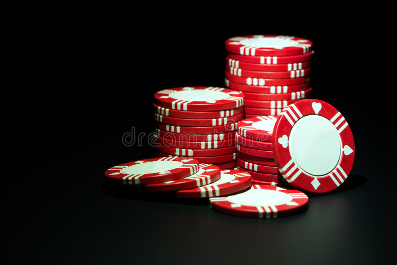 Red casino chips royalty free stock photos