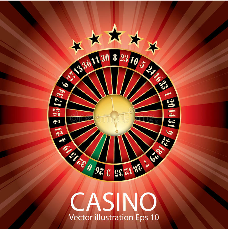 Red casino roulette. Casino vector abstract illustration with roulette, stars and red burst stock illustration