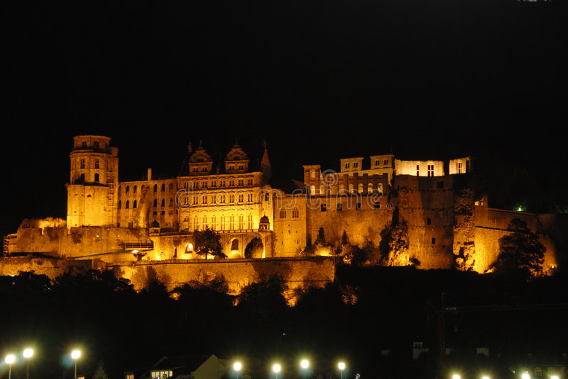 The Red Castle in Heidelberg, by night stock images
