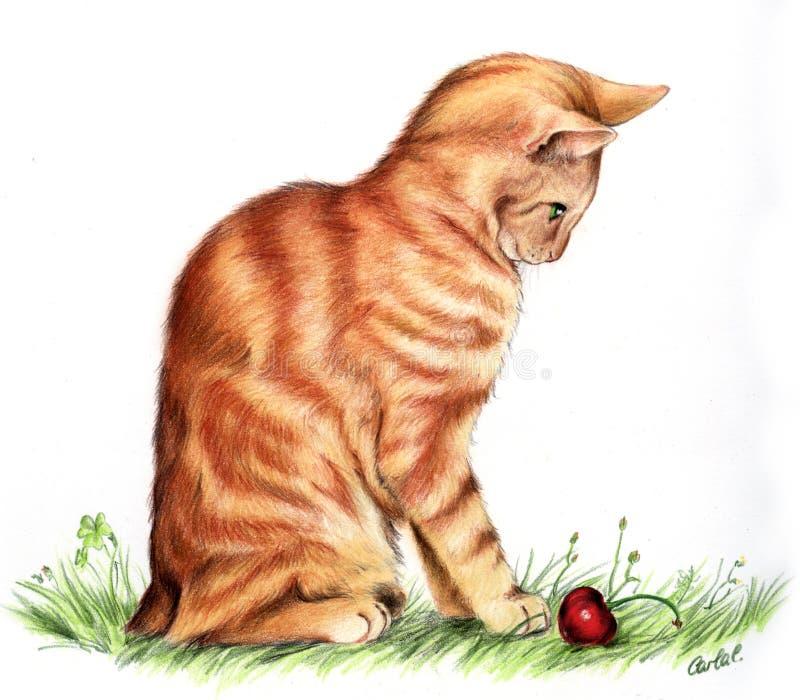 Red cat artwork vector illustration
