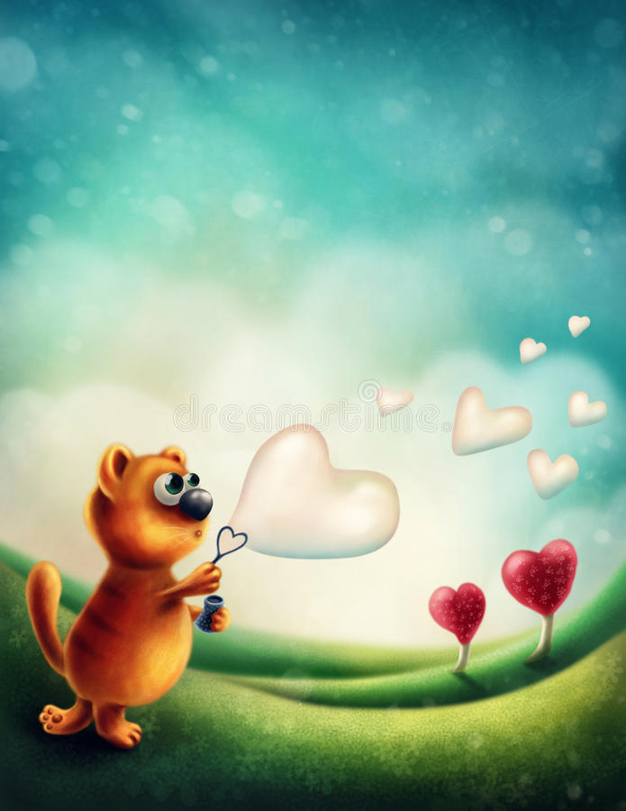 Red cat making soap bubble. Red cat making heart soap bubble vector illustration