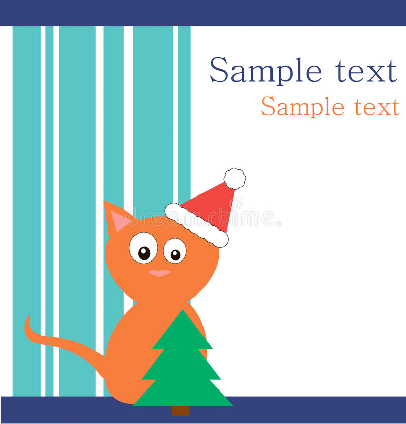 Download Red Cat In  Santa's Hat With Fur-tree Stock Illustration - Image: 17228577