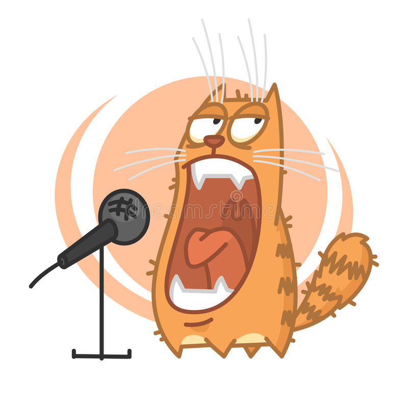 Red cat yells into microphone. Illustration, red cat yells into microphone, format EPS 8 vector illustration