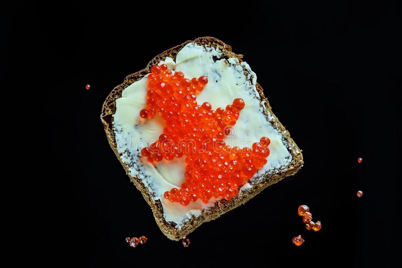Red caviar on black bread in the form of a Christmas tree stock photo