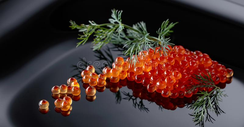 Red caviar with dill. On a black plate stock photos