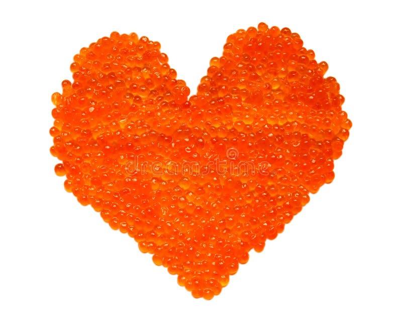 Red caviar heart royalty free stock photo