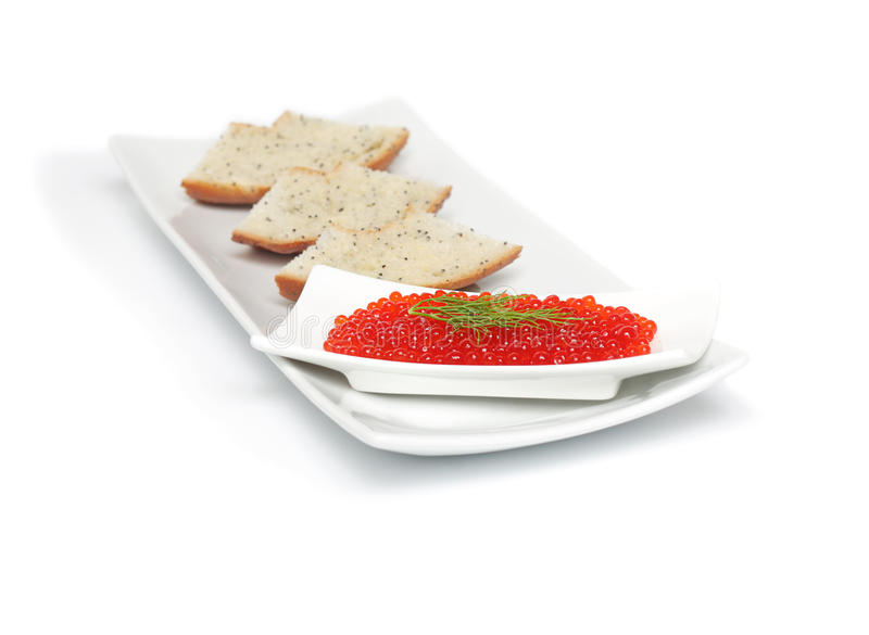 Red caviar with sliced bread royalty free stock photography