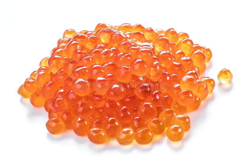 Red caviar on white background. Top view. Macro picture stock photos