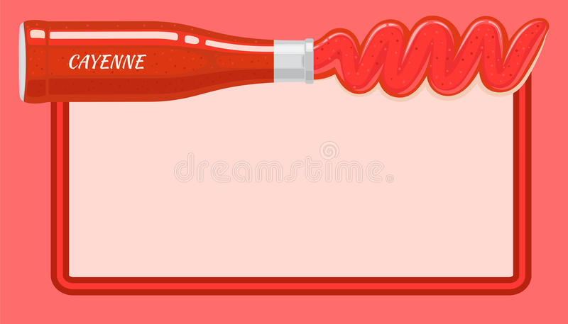 Red Cayenne Sauce Poured out from Lying Bottle. On top of picture with light place for writing inside. Vector illustration of red hot condiment based on vinegar royalty free illustration