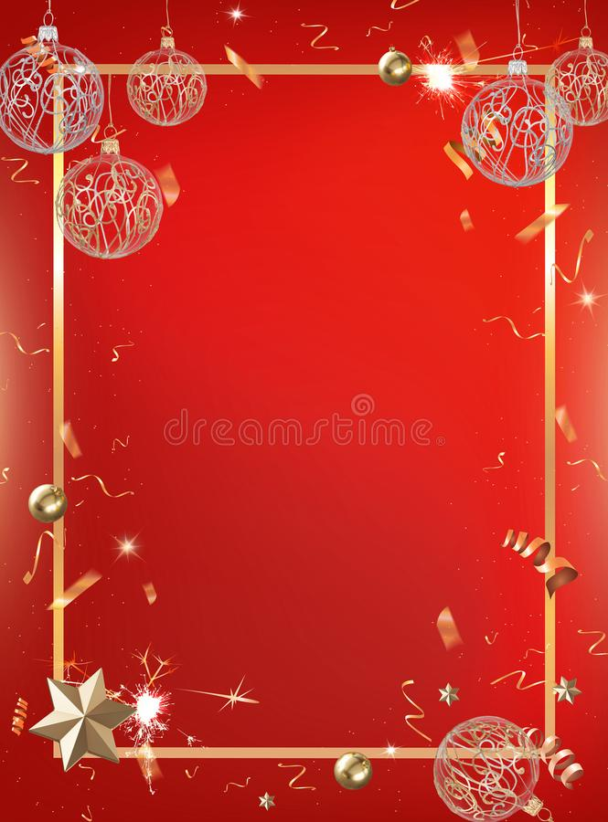 Red celebration party background with golden confetti and border vector illustration