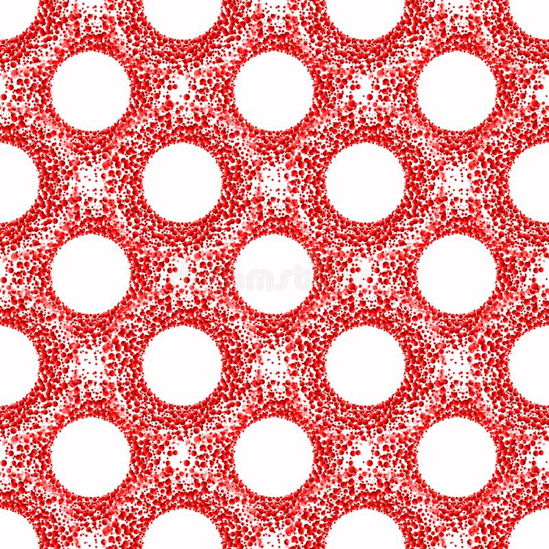 Blood Circles Seamless Pattern. Red cells blood circles abstract background seamless pattern stock illustration
