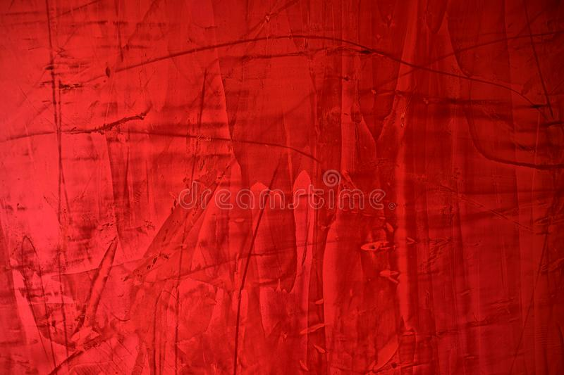 Red cement wall texture with paint stains , red abstract background. stock photography