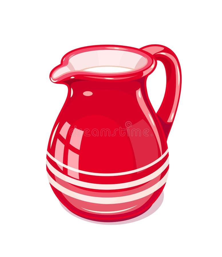 Free Red Ceramic Jug With Milk Royalty Free Stock Image - 100652996