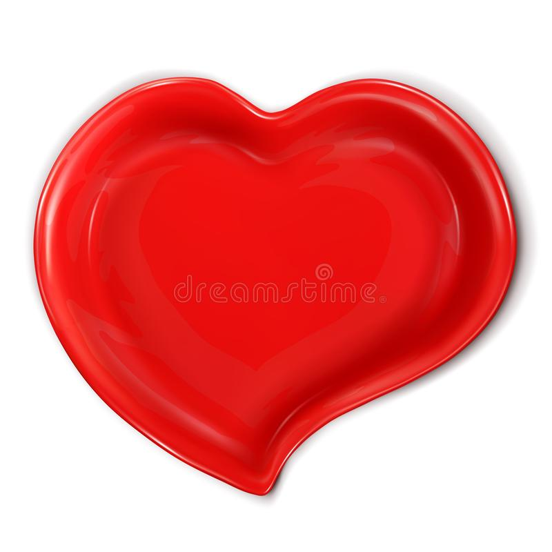 Red ceramic plate in the shape of a heart. Food mock up. 3d realistic vector illustration isolated stock illustration