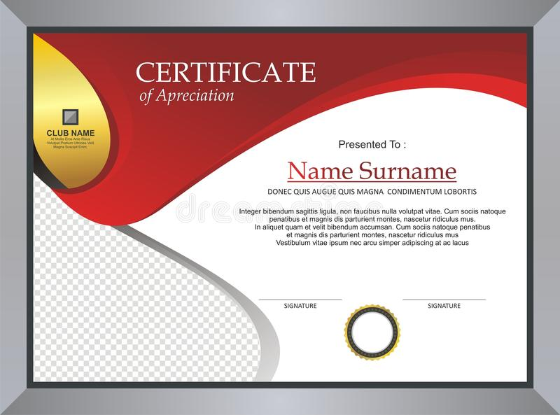 Red Certificate - Diploma Template design stock photography