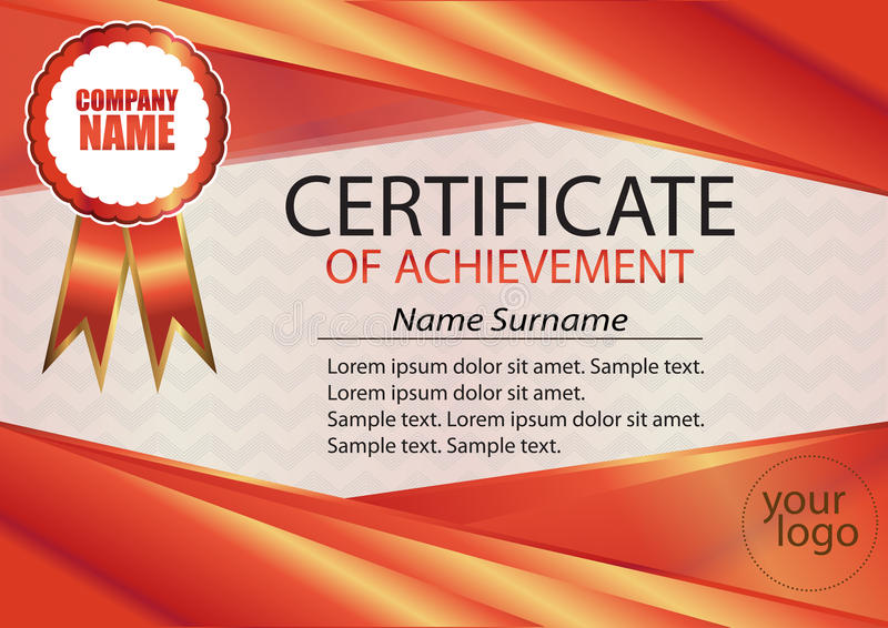 Red certificate or diploma template. Red frame. The text on separate layers. Reward. Winning the competition. Award winner. royalty free illustration
