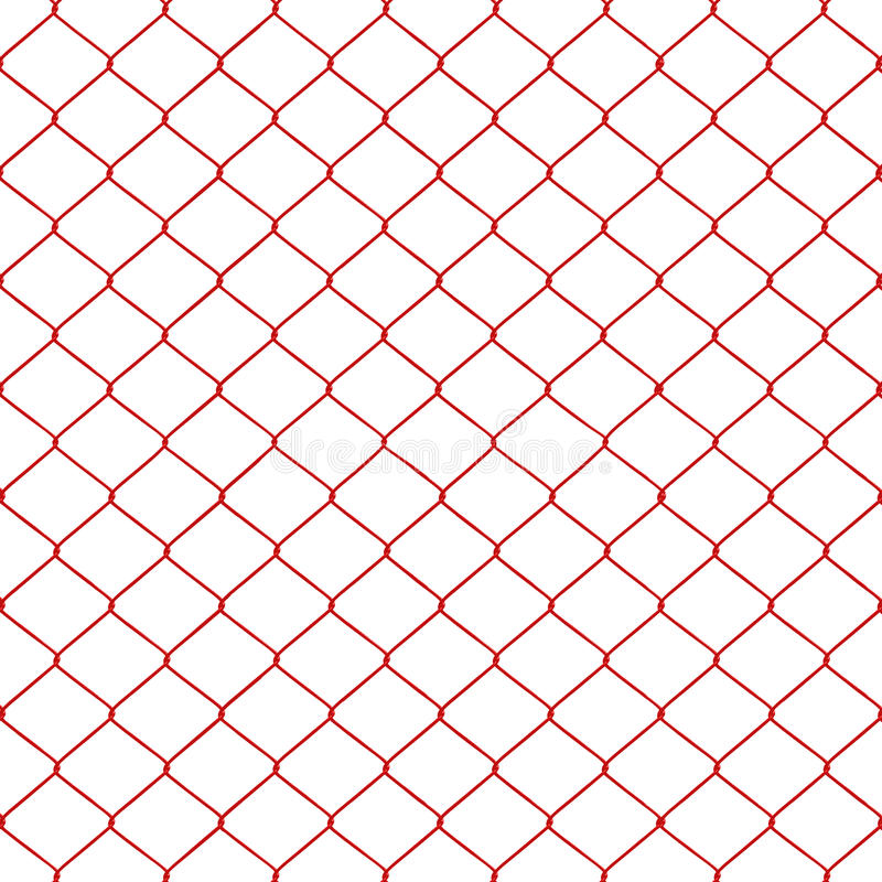 Red chainlink fence. Seamless on a White background stock illustration