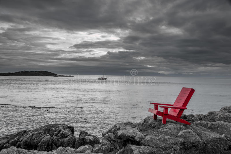 Download Red Chair Black And White Nature Background Stock Image   Image Of  Contrasting, Isolated