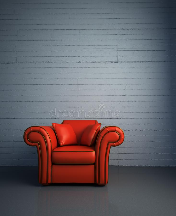 Red chair brick wall leather chair.  royalty free illustration
