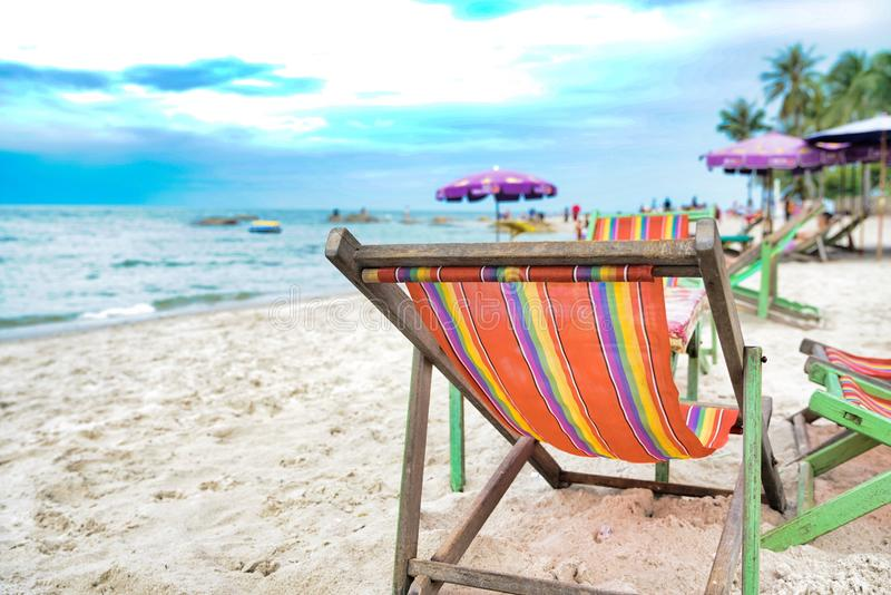 Red chair picnic at the beach royalty free stock image