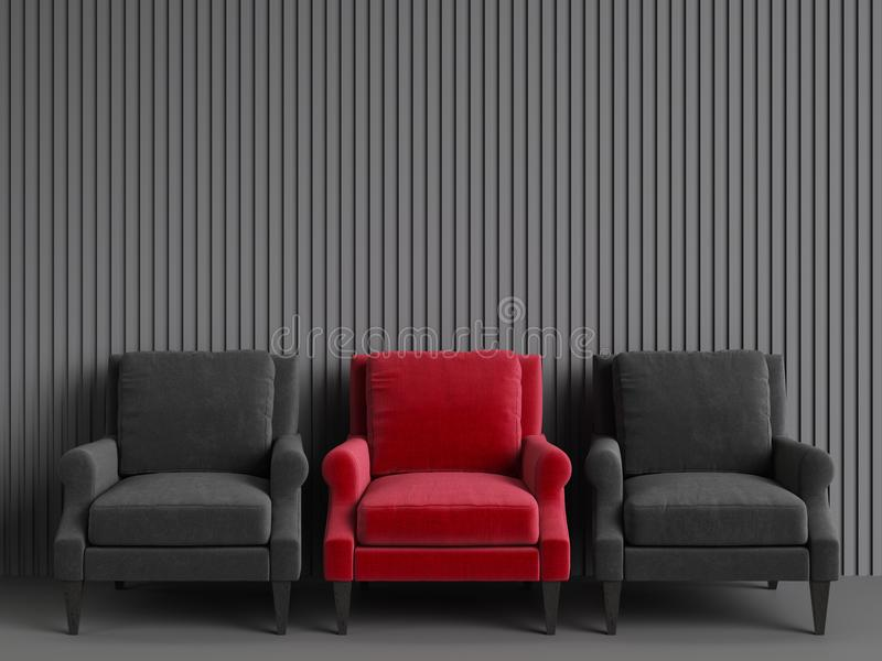 A red chair among pink chairs on grey backgrond. Concept of minimalism. 3d rendering mock up stock photo