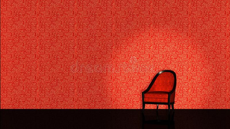 Red chair on red backround stock photography