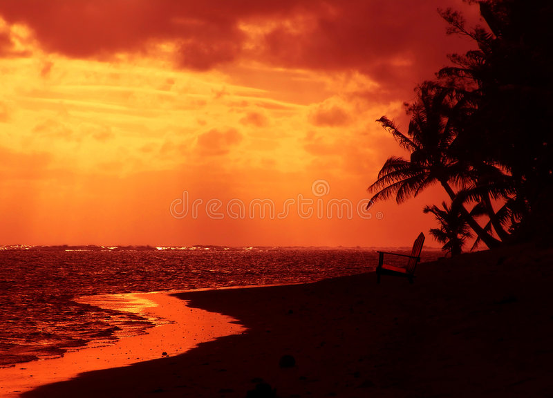 Red Chair Sunset royalty free stock image