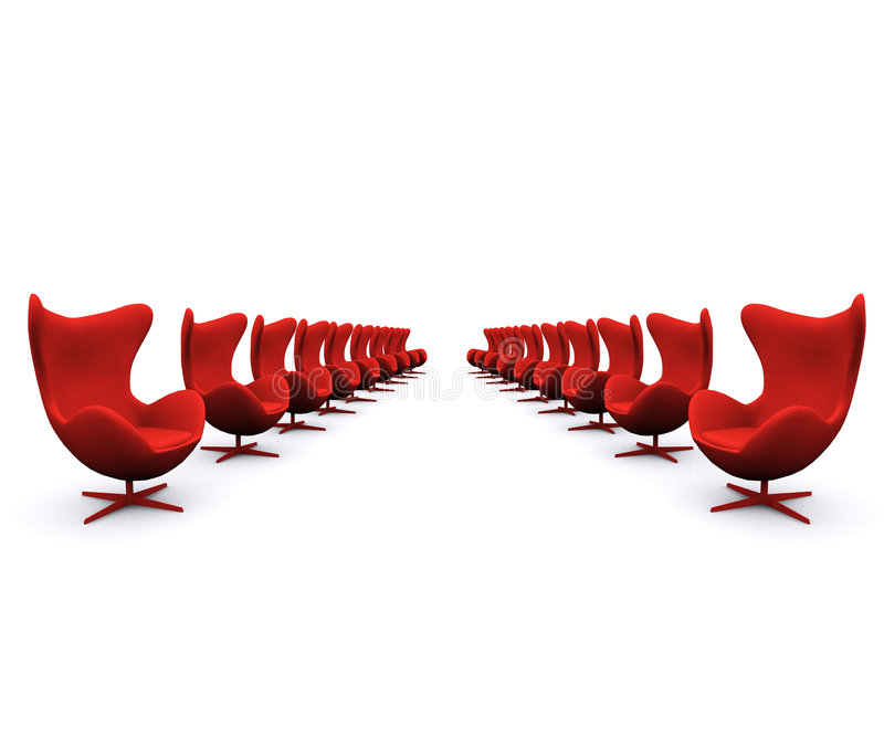 Red chairs. Red and empty chairs in a white office stock photos