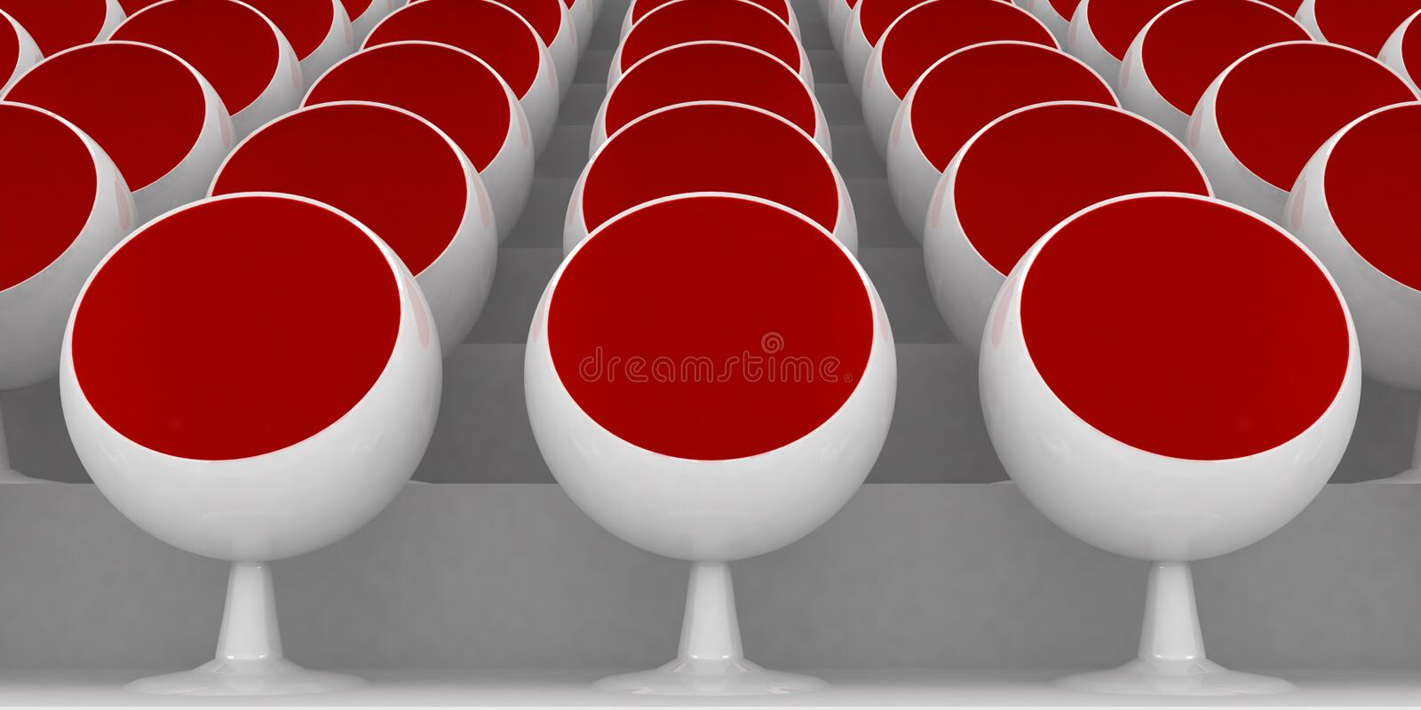 Red chairs. 3d rendering illustration of red chairs royalty free illustration