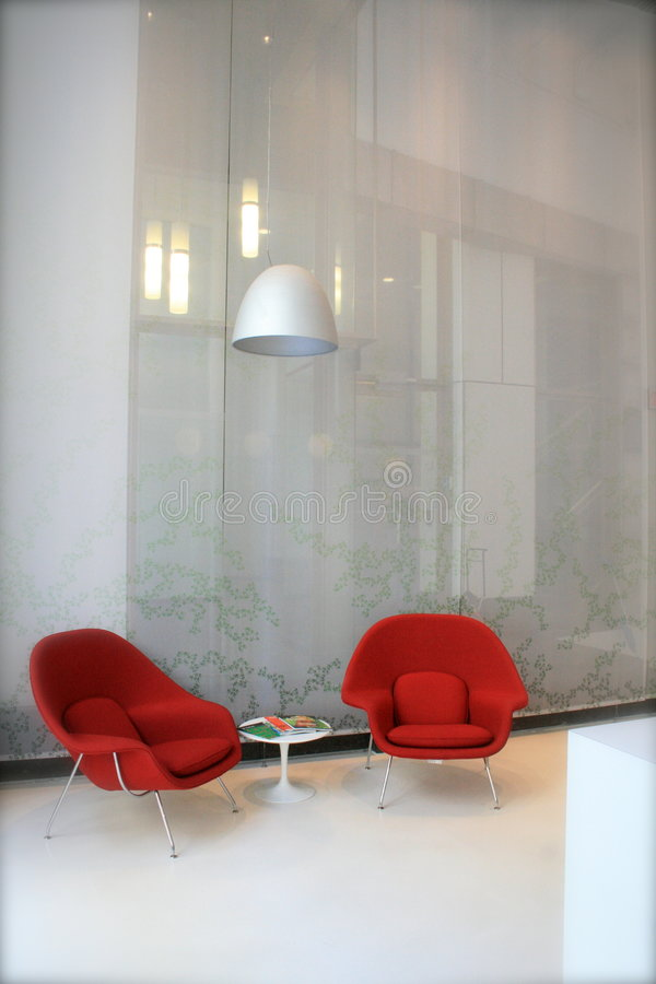 Red chairs. Interior design from montreal stock photos