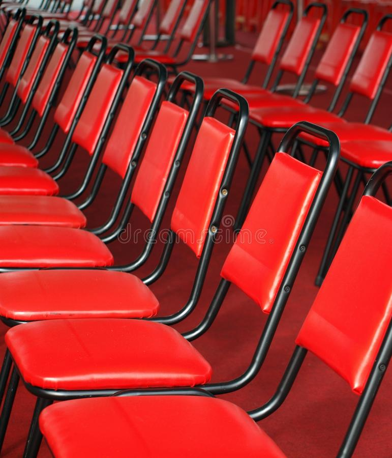 Red Chairs In Rows Stock Photos