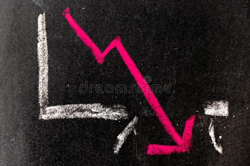 Red chalk drawing in down trend arrow break the graph line shape on black board background. Red color chalk drawing in down trend arrow break the graph line royalty free stock image
