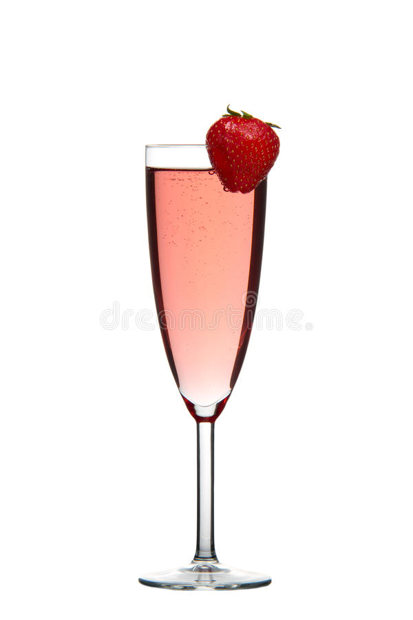 Red champagne drink with Strawberry isolated. Sparkling red champagne drink with Strawberry isolated on white background stock images